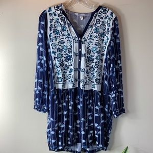 Anthro (Tiny) Floral Embroidered Blue Shirtdress
